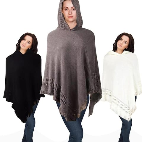 Hooded Knit Poncho with Fringe