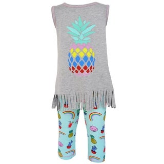 AnnLoren Girls Boutique Pineapple Paradise Fringe Tunic Capri Outfit