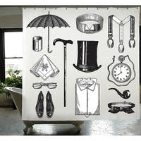 Gentleman PEVA Shower Curtain 72 x 72 in