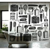 Barbershop Pattern PEVA Shower Curtain 72 x 72