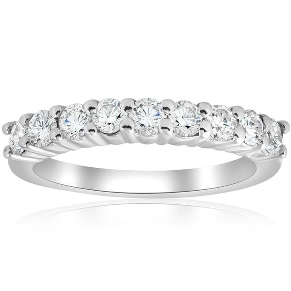 Bliss 14k White Gold 1 ct TDW Diamond Prong Half Eternity Ring Womens  Wedding Band - c05ab8b684
