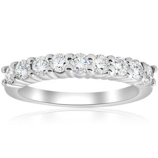 Bliss 14k White Gold 1 ct TDW Diamond Prong Half Eternity Ring Womens Wedding Band - White I-J
