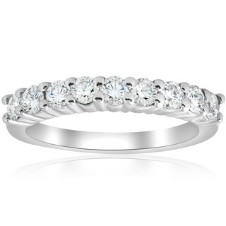 Bliss 14k White Gold 1 ct TDW Diamond Prong Half Eternity Ring Womens Wedding Band - White I-J