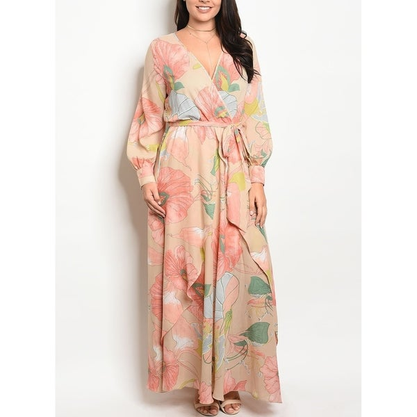 c4f745ca52c2c Shop JED Women s Plus Size V-Neck Long Sleeve Chiffon Floral Maxi Dress -  Free Shipping On Orders Over  45 - Overstock - 19748449