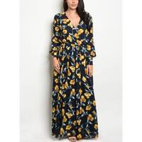 JED Women's Plus Size Floral V-Neck Chiffon Maxi Dress