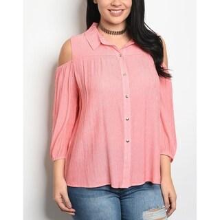 JED Women's Plus Size Cold Shoulder Button Down Shirt