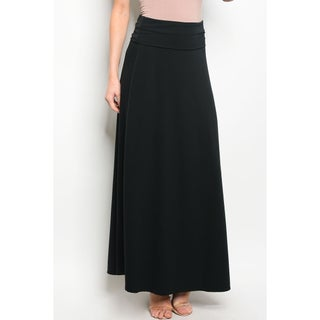 JED Women's Stretchy Fold-Over Solid Maxi Skirt (Option: Black - S)