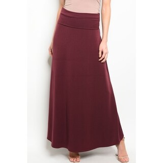 JED Women's Stretchy Fold-Over Solid Maxi Skirt