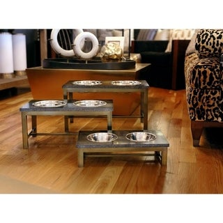 Unleashed Life Mercer Brass Elevated Double Pet Feeder Collection