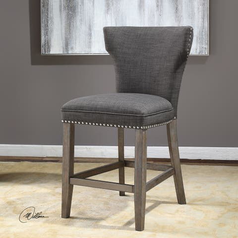 Uttermost Arnaud Charcoal Fabric/Wood Counter Stool