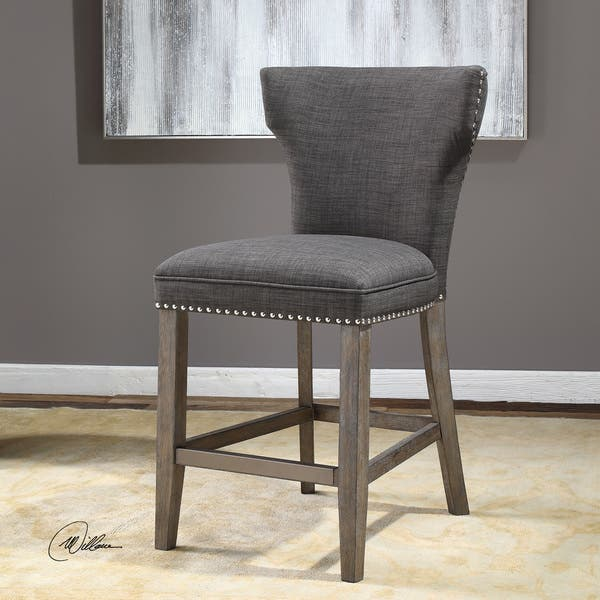 Wondrous Shop Uttermost Arnaud Charcoal Fabric Wood Counter Stool Gmtry Best Dining Table And Chair Ideas Images Gmtryco