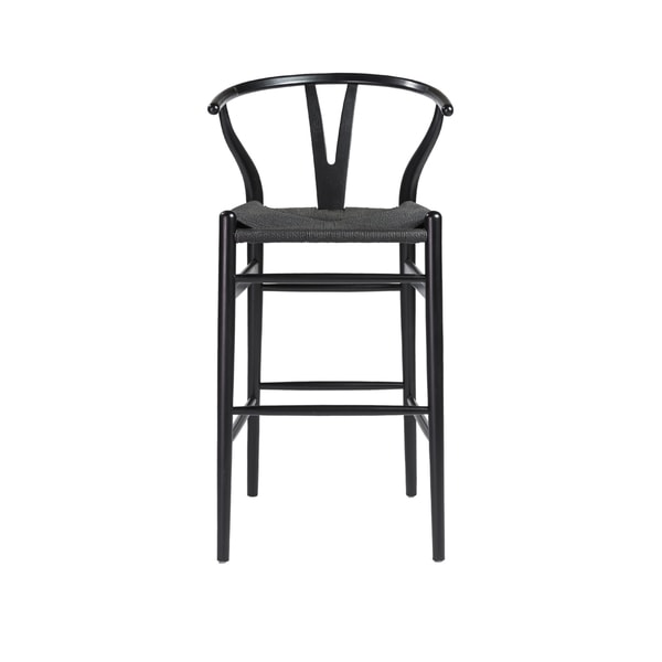 Euro Style Evelina B Natural Stained Wood And Rush Bar Stool