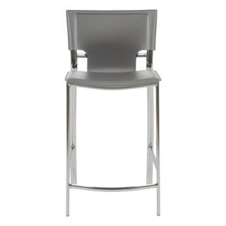 Vinnie C Counter Stool In Gray With Chrome Legs Set Of 2