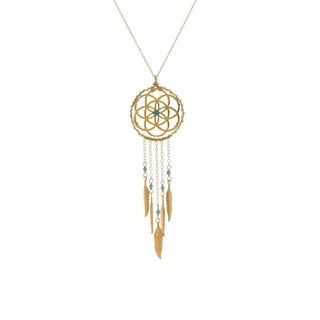 Rafia Gold Filled Turquoise Dream Catcher Necklace