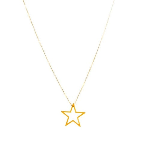 Rafia Gold Filled Medium Floating Star Necklace
