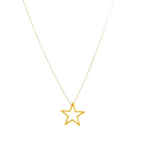 Rafia Gold Filled Medium Floating Star Necklace