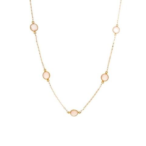 Rafia Gold Filled Rose Quartz Connector Necklace