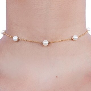 Rafia Gold Filled Pearl Chain Choker