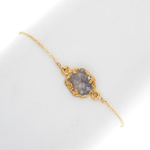 Rafia Gold Filled Small Natural Cut Gemstone in Black Druzy Bracelet
