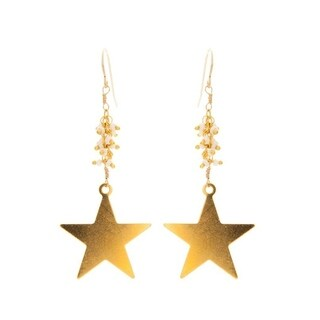 Rafia 14k Gold Filled Medium Flat Star with rolled Pearl Chain Earrings
