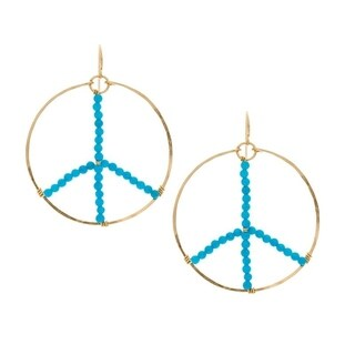 Rafia 14k Gold Filled Turquoise Peace Sign Earrings