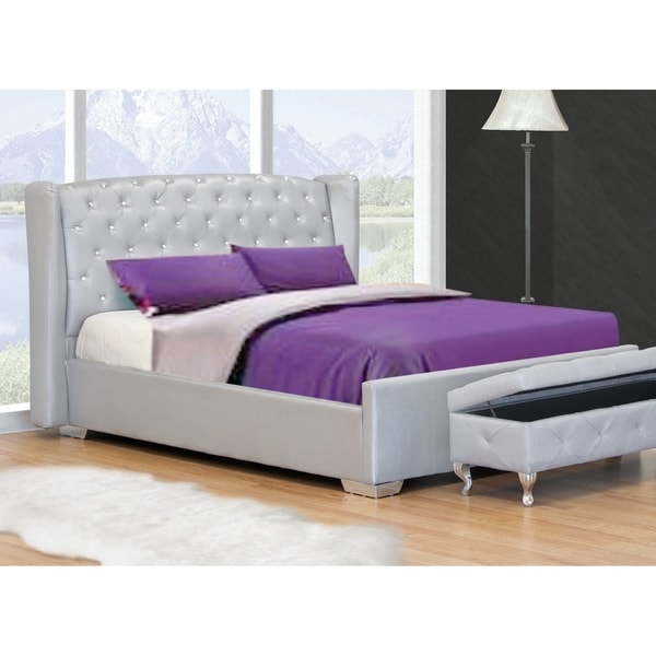 Shop Best Master Furniture Silver Leather Platform Bed