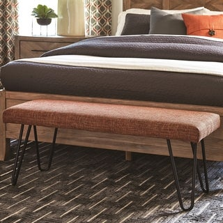 Mid-Century Modern Burnt Orange Living Room Accent Bench with Hairpin Legs