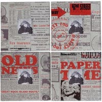 Newspaper Themed Photo Frames, Multicolor, Set of 4