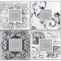 Wood & Glass Old Style Photo Frames, White and black, Set of 4