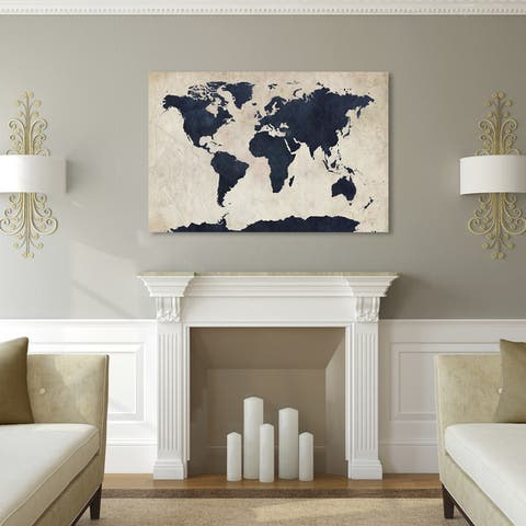 Porch & Den Kahili Tompsett 'World Map - Navy' Canvas Art