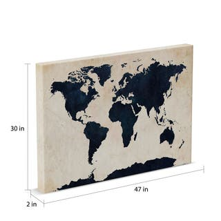 Porch & Den Kahili Tompsett 'World Map - Navy' Canvas Art