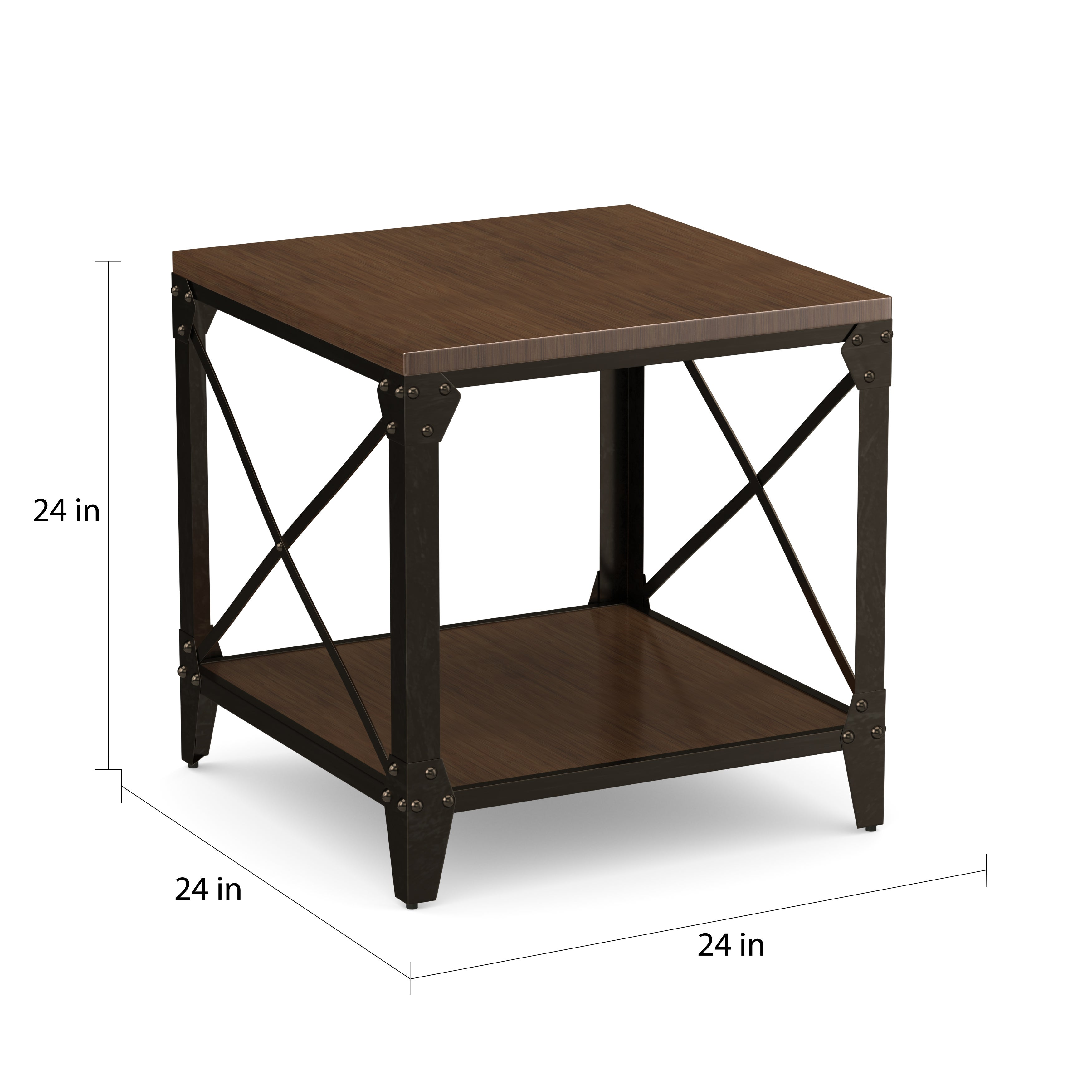 Carbon Loft Fischer Solid Wood And Iron Rustic Square End Table