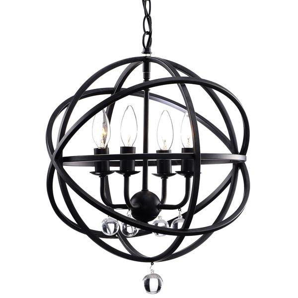Silver Orchid Shearer Antique Black Metal Sphere 4-light Crystal Chandelier