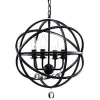 Carbon Loft Bidwell Antique Black Metal Sphere 4-light Crystal Chandelier