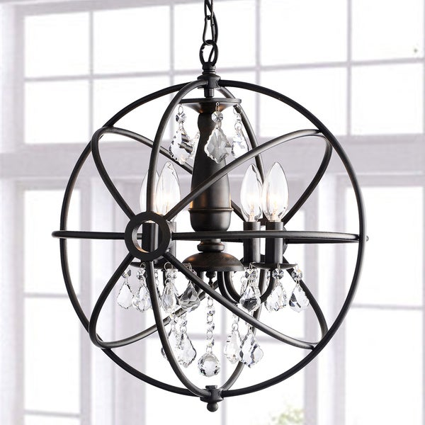 Shop Carbon Loft Bidwell Antique Black 4 Light Iron Orb Crystal Chandelier On Sale Free