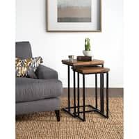 Carbon Loft Morse Natural Wood and Iron Nesting Table