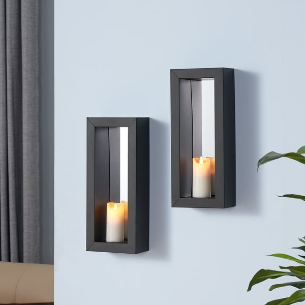 Porch & Den Devoe Vertical Mirror Pillar Candle Sconce (Set of 2)