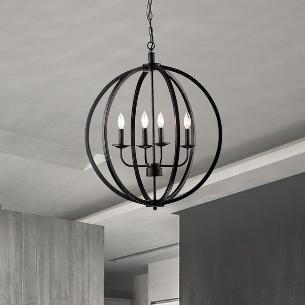 Carbon Loft Bidwell Antique Black Metal Orb 4-light Chandelier