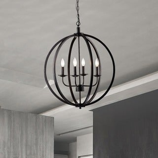 Carbon Loft Bidwell Antique Black Metal Orb Chandelier with 4 Lights