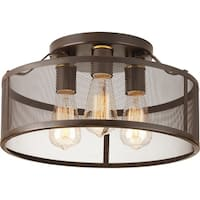 Carbon Loft Fenby Bronze-finish Steel/Porcelain 3-Light Flush-mount Fixture