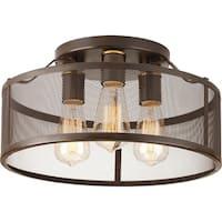 Carbon Loft Fenby Bronze-finish Steel/Porcelain 3-Light Flush-mount Fixture