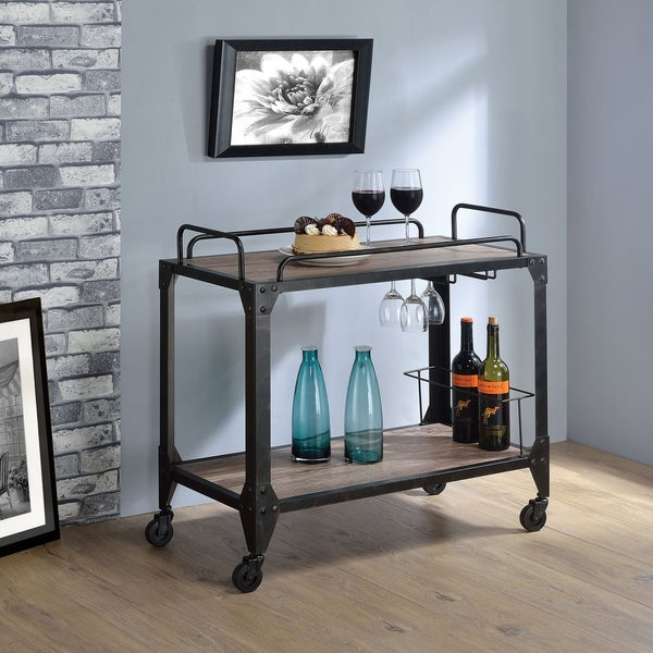 Carbon Loft Owen Black Metal/ Rustic Oak Serving Cart