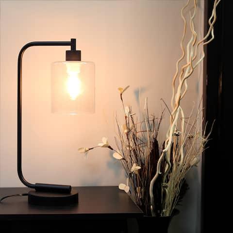 Carbon Loft Locke Black Iron Glass-shade Antique-style Industrial Lantern Desk Lamp
