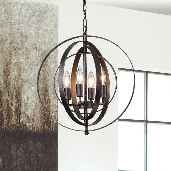 Copper Grove St. Mary Antique Black Iron 4-light Orb Chandelier. Opens flyout.