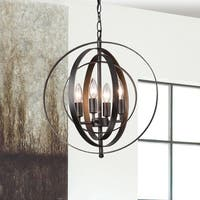 Carbon Loft Bidwell Antique Black Iron 4-light Orb Chandelier