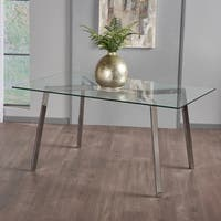 Zavier Rectangle Glass Dining Table by Christopher Knight Home - N/A