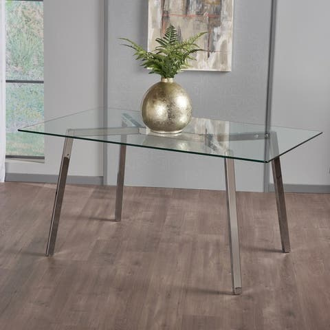 Zavier Rectangle Glass Dining Table by Christopher Knight Home