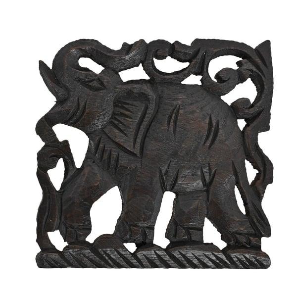 Shop Majestic Elephant Hand Carved Teak Wood Wall Art