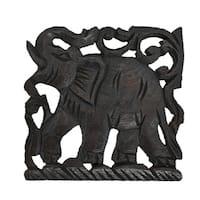 Majestic Elephant Hand Carved Teak Wood Wall Art (Thailand)