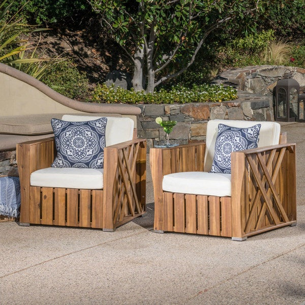 90615902eb Cadence Outdoor Acacia Wood Club Chair with Cushion (Set of 2) by  Christopher Knight